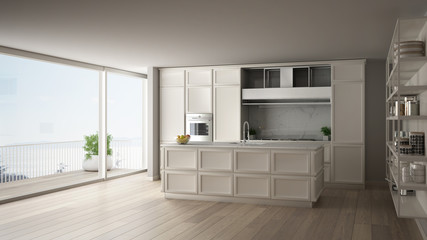 Classic white kitchen in modern open space with parquet floor and big panoramic window with balcony on sea landscape, island and accessories, minimalist contemporary interior design