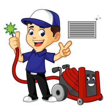 Hvac Cleaner or technician cleaning air duct