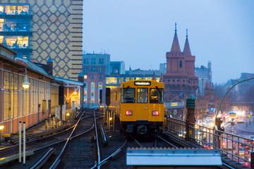 Spoed Foto op Canvas Berlijn Berlin, Germany. The Warschauer Strasse subway station in winter