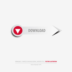 Isolated download button on clean gray background, eps10 vector illustration