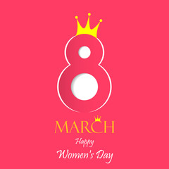 Women's day vector greeting card with decor of paper cut number. March 8 symbol with crown for queen's and princess. International Women's day with pink background. Vector EPS 10 illustration.