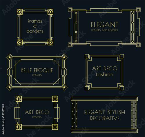Set Of Art Deco Stylish Vector Frames And Borders Decorative Frames