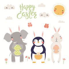 Hand drawn vector illustration of a cute elephant, bunny, penguin, with eggs, text Happy Easter. Isolated objects on white background. Scandinavian style flat design. Concept for kids print, card.