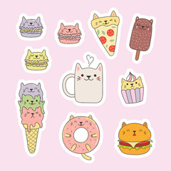 Foto op Plexiglas Illustraties Set of kawaii stickers with foods with cat ears, macarons, pizza, burger, ice cream, cupcake, donut, coffee. Isolated objects. Hand drawn vector illustration. Line drawing. Design concept kids print.