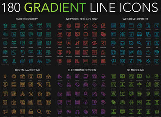 180 trendy gradient style thin line icons set of cyber security, network technology, web development, digital marketing, electronic devices, 3d modeling isolated on black background.