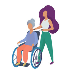 Young woman social worker volunteer caring old disabled woman in wheelchair vector illustration.