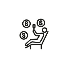 Self employed person line icon
