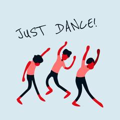 dancing people retro vector illustration for web