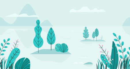 Photo sur Aluminium Bleu clair Flat vector background of spring landscape with minimal trees, lake, mountains, flowers, grass. Fantasy nature seamless border. Summer cartoon illustration