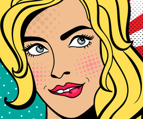 Sexy pop art woman with squinted eyes and open mouth. Vector background in comic style retro pop art. Invitation to a party.