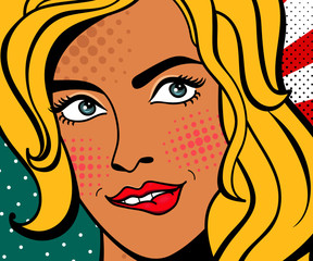 Sexy pop art woman with squinted eyes and open mouth. Vector background in comic style retro pop art. Invitation to a party. Face close-up.