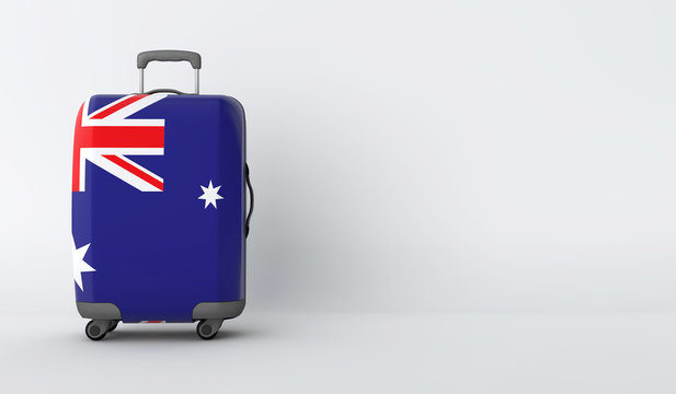 Travel suitcase with the flag of Australia. Holiday destination. 3D Render