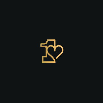Heart in digit 1. Beautiful vector love logo. The symbol of the union, passion and tender. Golden color on black background.