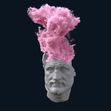 antique statue with overheated brain