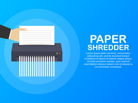 Paper shredder icon document business office information protection. Vector illustration