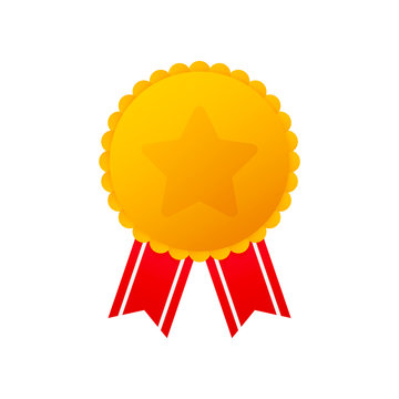 Gold medal with star and red ribbon. Winner award icon. Best choice badge. Vector illustration
