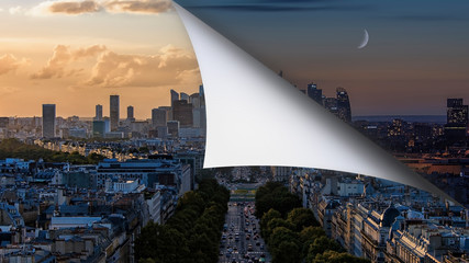 Fototapete - Composite cityscape view of Paris business district La Defense in day & night