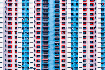 Fototapete - Facade of colored modern building as texture, background, abstract