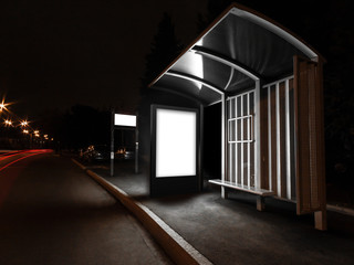 Blank advertising light box on bus station at night, mock up