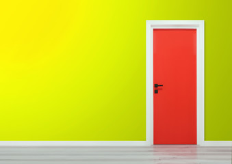 Red door with black handle in a yellow gradient wall