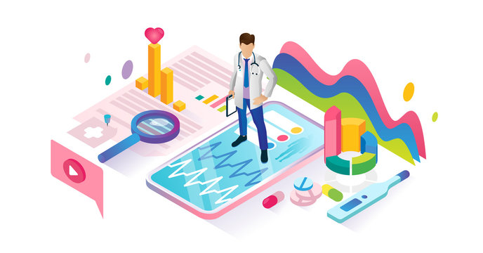 Healthcare app isometric cyberspace and tiny persons concept illustration.