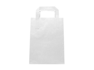 White Paper bag isolated on white background, front view