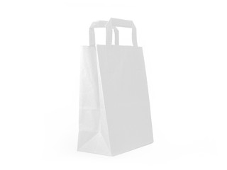 White Paper bag isolated on white background, side view