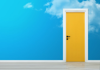 Yellow door with black handle in a wall with cloudy sky illustration