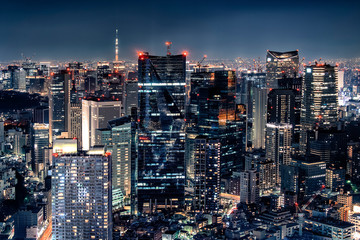 Leinwandbilder - City of Tokyo illuminated by night with the famous Tokyo Skytree tower