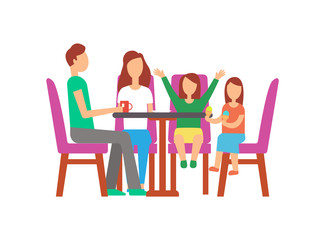 Father and mother with kids eating in cafe vector. Father with cup of tea, daughter holding ice cream. Mother and kid waiting for order, people on weekend