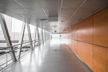 Empty airport hallway with nobody