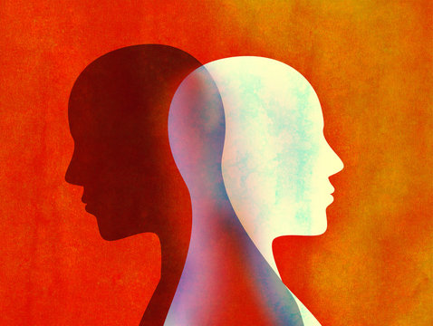 Bipolar disorder mind mental concept. Change of mood. Emotions. Split personality. Dual personality. Head silhouette of man
