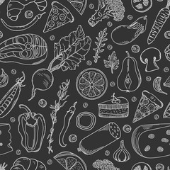 Healthy food seamless pattern. Vegetables, fruits, fish, meat products and spices hand-drawn on black background.
