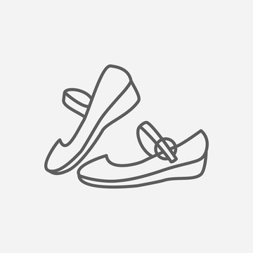 Mary janes icon line symbol. Isolated vector illustration of  icon sign concept for your web site mobile app logo UI design.
