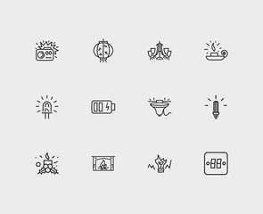 Energy icons set. Cfl lamp and energy icons with chinese lantern, broken bulb and wall sconce. Set of traditional for web app logo UI design.