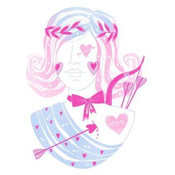 Love Goddess Cupid Girl Illustration