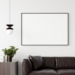 Mock up poster frame in home interior background, Modern style living room, 3D render