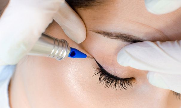 Permanent make-up tattoo. Cosmetologist applying permanent make up eyeliner, eyeliner tattoo procedure on young woman in beauty salon, extreme close up