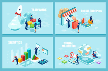 Set of isometric vector design templates for online shopping, startup strategy and financial analytics