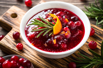 Cranberry sauce with orange and rosemary.