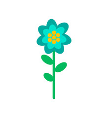 Flower doodle in blue and yellow color. Vector isolated blooming bud with green leaves and stem, botanical icon, flora element, romantic spring blossom