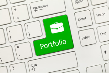 White conceptual keyboard - Portfolio (green key)