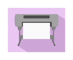 Vector flat simple icon of cmyk plotter – inkjet printing machine for large formats with dark shadow on a light violet background