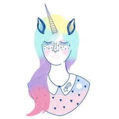 Abstract Rainbow Unicorn Girl Illustration
