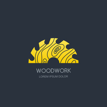 Woodwork and carpentry logo emblem concept. Circular saw with wooden rings texture, vector label icon design