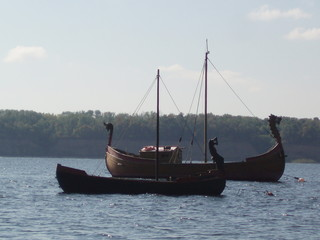 ancient Viking boats on the river