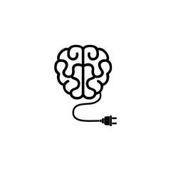 Creative brain Idea concept with plug in icon, Brain with plug