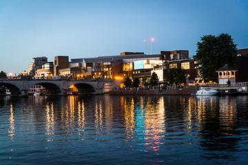 Kingston Bridge and riverside at night, Kingston upon Thames, Surrey, England, UK