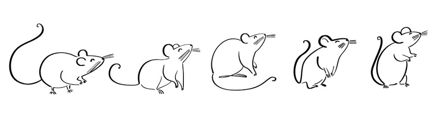 drawing of cute rat vector illustration simple concept zodiac of rat.2020 Chinese
