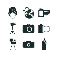 movie icon set. photographic tape icon and camera on a tripod icon vector icons.
